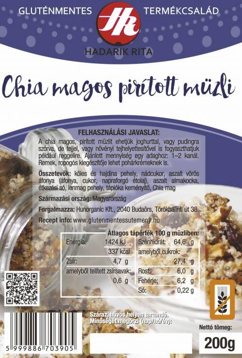 Hadarik Rita gluténmentes chia magos, pirított müzli