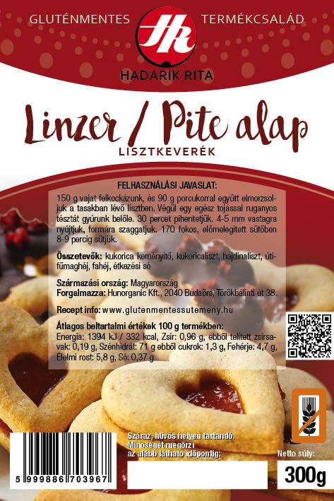 Hadarik Rita gluténmentes linzer/pite lisztkeverék